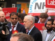 Jeremy Corbyn Labour, i Bedford 3rd May, 2017 Royaltyfri Bild