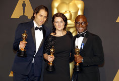 Jeremy Kleiner, Adele Romanski e Barry Jenkins Fotos de Stock Royalty Free