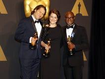 Jeremy Kleiner, Adele Romanski och Barry Jenkins royaltyfri fotografi