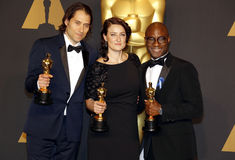 Jeremy Kleiner, Adele Romanski und Barry Jenkins Lizenzfreie Stockfotografie