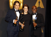 Jeremy Kleiner, Adele Romanski und Barry Jenkins Stockfoto