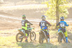 Jeremy Mcgrath, Kevin Windham and Wil Hahn watching riders. At a private track Stock Images