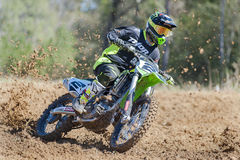 Jeremy McGrath sliding around a turn Royalty Free Stock Images