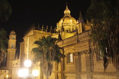 Jerez cathedral. The cathedral of Jerez de la Frontera at night. Built in the 17th century, it is a mix of Gothic, Baroque and Neoclassicist style. It was stock image