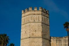 Alcazar of Jerez de la Frontera tower. Jerez de la Frontera, Spain. January 22, 2018. Alcazar of Jerez de la Frontera tower stock image