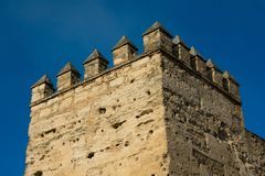 Alcazar of Jerez de la Frontera tower. Jerez de la Frontera, Spain. January 22, 2018. Alcazar of Jerez de la Frontera tower stock photos