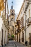 San Miguel church in the streets of Jerez de la Frontera in Spain. JEREZ DE LA FRONTERA,SPAIN - SEPTEMBER 30,2017 - San Miguel church in the streets of Jerez de stock image