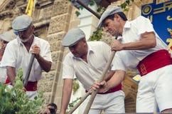 Jerez, Spanien - 10. September 2013: Traditionelle Stampfentrauben I Stockbild
