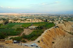 Jericho - aerial view from Mount of Temptation. Stock Photography