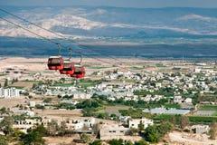 Kabelwagen over Jericho. stock foto