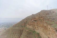 Jericho, Israel - 16 de fevereiro 2017 Vista da montagem da tentação em Jericho Fotografia de Stock Royalty Free