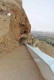 Jericho, Israel. - February 16.2017. View of the Mountain of Temptation and the Convent of Temptation in Jericho. Way up Royalty Free Stock Image
