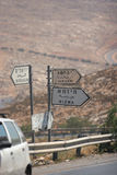 Jericho jerusalem road sign. Road sign in the West Bank, in Arabic,ehglish and Hebrew Stock Photo