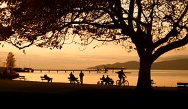 Jericho Park, Vancouver. Bike rider and people sitting on bench in front of sunset in Jericho Park royalty free stock photos