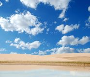 Jericoacoara Brasil. Tropical sea landscape with clouds Royalty Free Stock Images