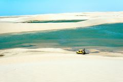 Buggy with tourists traveling through the desert Jericoacoara Na Stock Images