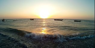 Jericoacoara, coucher du soleil de surfer de cerf-volant du Brésil Photo libre de droits