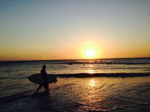 Jericoacoara, coucher du soleil du Brésil photos libres de droits