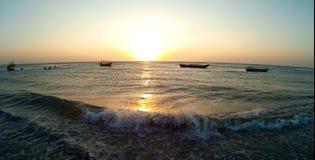 Jericoacoara, tramonto del surfista dell'aquilone del Brasile fotografia stock libera da diritti