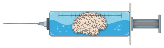 Jeringuilla con el cerebro 1 Imagen de archivo libre de regalías