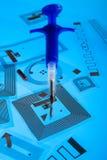 Jeringuilla de la implantación del RFID y etiquetas del RFID Fotografía de archivo