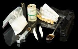 Jeringuilla y heroína de la droga Foto de archivo