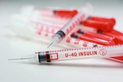 Jeringuillas de la insulina Imagen de archivo libre de regalías