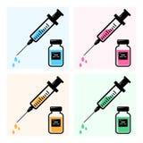 Jeringuillas para la inyección con la vacuna colorida, frascos de los iconos de medicina Vector ilustración del vector