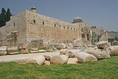 Jerisalem Old City Walls. El Aqsa Mosque As seen from outside the City Walls,Jerusalem,Israel Stock Photography