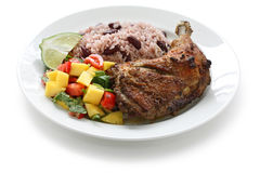 Jerk chicken plate, jamaican food Stock Images