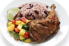 Jerk chicken plate, jamaican food Royalty Free Stock Image