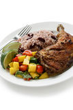 Jerk chicken plate, jamaican food Royalty Free Stock Photo
