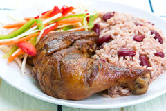 Jerk Chicken with Rice Royalty Free Stock Photography