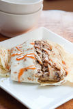 Jerk Chicken in Roti - Caribbean Style Royalty Free Stock Photo