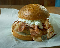 Jerk Pork Cheeseburgers Stock Photos