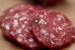 Jerked Italian salami royalty free stock images