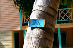 Only Jerks Litter. `Only Jerks Litter - Don`t Be a Jerk!` Sign Hanging on a Palm Tree in Caye Caulker, Belize Royalty Free Stock Photo