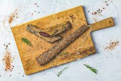 Jerky, basturma, dried meat beef, meat smoked jerky royalty free stock photos