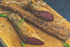 Jerky, basturma, dried meat beef, meat smoked jerky with spices royalty free stock image
