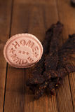 Jerky beef  dried cured spiced meat Stock Images