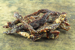 Jerky beef homemade dry cured spiced meat Royalty Free Stock Image
