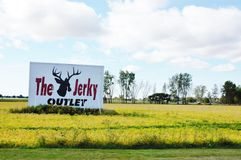 The jerky outlet sign in michigan state. For visitors of Michigan state from around  USA  amazing to see many signs of different jerky outlets ,lovers of car Royalty Free Stock Photos