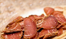 Jerky slices close up Royalty Free Stock Photos
