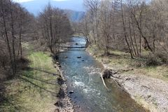 Jerma river near village Vlasi, town Pirot. Southeast Serbia stock images