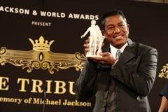 Jermaine Jackson and Mozzart statue Royalty Free Stock Photos