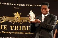 Jermaine Jackson and Mozzart statue Royalty Free Stock Photography