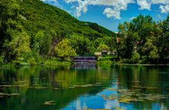 Jermuk, Armenia. Jermuk lake (pond) in Armenia stock photography