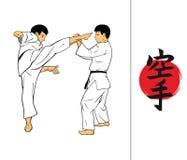 Jeroglífico del karate y de los hombres que demuestran karate Fotografía de archivo libre de regalías