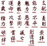 Jeroglíficos japoneses un conjunto dos Imagenes de archivo