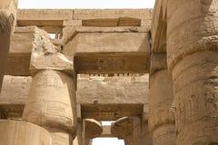 Jeroglíficos y dibujos egipcios en las paredes y las columnas Lengua egipcia, la vida de dioses antiguos y gente en jeroglífico fotografía de archivo